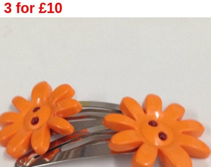 Orange flower button children's hair clip, flower hair clip, children's hair accessories, orange hair clip, button hair clips