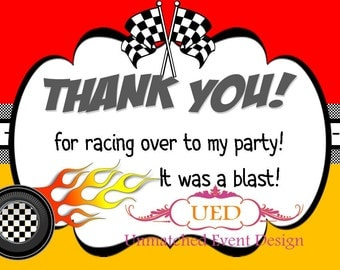 Racing Thank You Card, Race Car Thank You Card, Nascar Thank You Card, Hot Wheels Thank You Cards (DIGITAL/Diy Printing/IMMEDIATE DOWNLOAD)