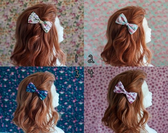 Hair pin cute bow fabric with flower patterns pin up style