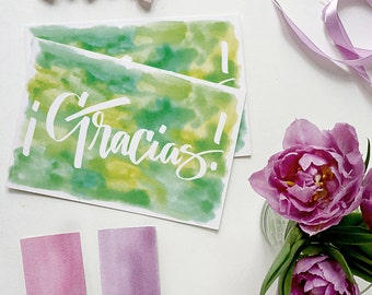 gracias | gracias card | watercolor card | tarjeta de gracias | spanish card | thank you card in spanish | thank you card