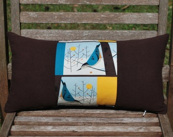 Organic Bluebird Panel Lumbar Pillow Cover - Charley Harper Design