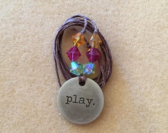 Make time to Play metal stamped charm necklace