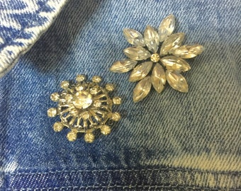 Two Vintage Clear Rihnestone Brooches