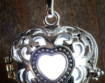 ON SALE TODAY - White Glowing Pendant Necklace heart Locket Silver tone, Romantic Gift for Her