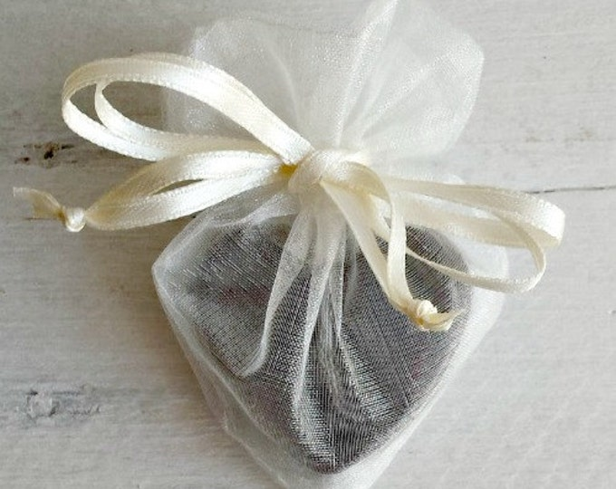 Heart Shaped Organza Favor Bag, Soap Favor Bag, Organza Favor Bag, Drawstring Bag, Organza Bag, 4x3 Heart Organza Bag, Wedding Favor Bag