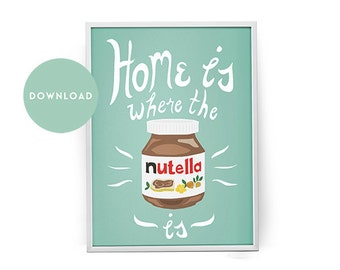 Nutella print, kitchen decor, nutella gift, nutella wall art, gift for nutella lover, hand lettered, dorm decor, foodie gift,