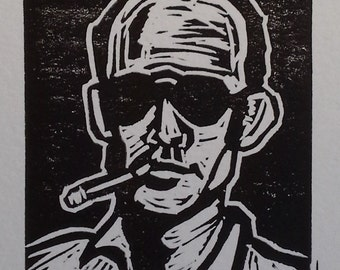 Bat Country (Hunter S Thompson) Linocut Print