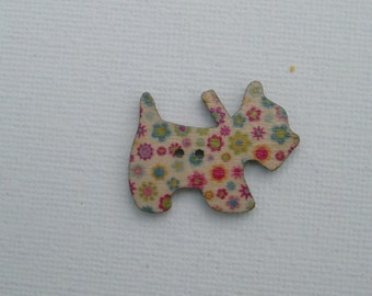 Wooden Craft Buttons - Scottie Dog - Pack of 25 assorted designs