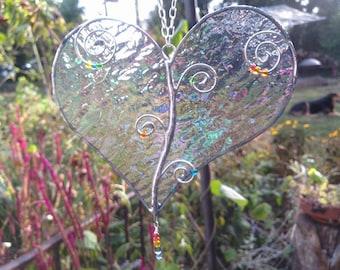 Iridescent Stained Glass Heart Sun Catcher