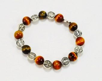 Tiger Eye St. Benedict Bracelet . Tiger Eye Stacking Bracelet . Tiger Eye Bracelet . St. Benedict Protection Bracelet . Benedictine Bracelet