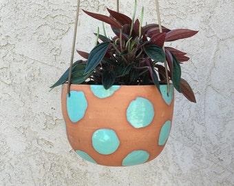 Large polka dot hanging terra cotta planter