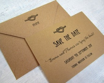 Tying the knot save the date card / rustic / kraft card /wedding invitation