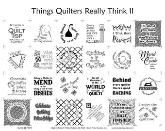 Things Quilters Really Think Humorous Fabric Panel, Quilting Humor, funny, gift for mom, gift for grandma