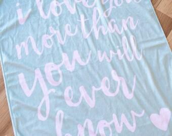 Mint i love you minky baby wrap. Baby swaddle. READY TO SHIP.  Minkee wrap. Nursery wrap. Pram blanket. Bassinet blanket