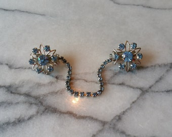 Vintage Silver Flowers with Prong Set Baby Blue Crystal Rhinestones Sweater Pin, Sweater Guard, Collar Guard Clip
