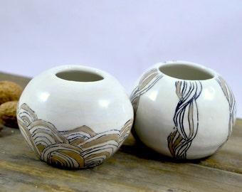 Two round vases handmade