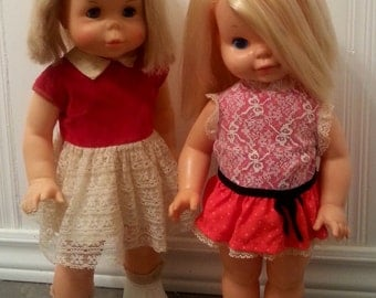 2 vintage Mattel dolls, Chatty Cathy and My First Step