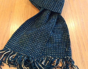 Handwoven deep forest green chenille scarf