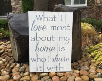 """What I Love Most About My Home Is Who I Share It With Rustic Wood Sign, Hand-painted - Wedding Gift - Housewarming Gift - Measures 21"""" x 30"""""""