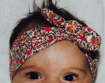 headband, baby pink and orange flower headband, headband, bow, French