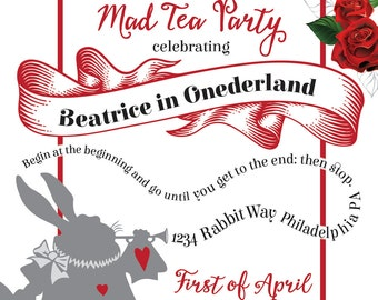 Custom Wonderland Invitations-Double Sided  (Digital file)
