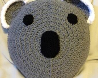 Round Crocheted Koala Pillow