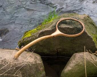 Personalized handmade wooden landing net, fly fishing net, trout net, oak and mahogany net