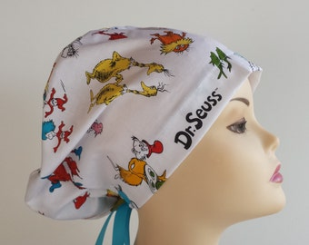 Women's surgical scrub hats, or scrub caps -Dr Seuss-  cotton 100%