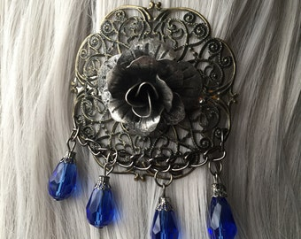 CLEARANCE Victorian Burning Man Headpiece, Flower Hair Accessories, Blue Hair Flower, Blue Hair Bow, Blue Hair Clip, Blue Jewels