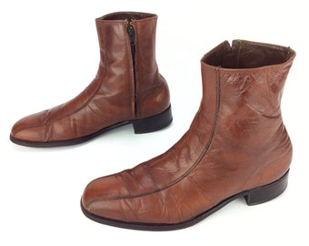 Men's Vintage Florsheim Imperial Caramel Brown Leather Zipper Beatle Ankle Dress Boots