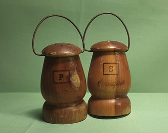 Vintage Wooden Salt and Pepper Shakers   Metal Handles   Rustic Wooden Shakers  Home Decor