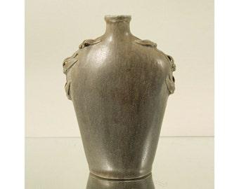 Arne Bang Studio, Denmark. Stoneware Bottle with Applied Foliage. Scandinavian Art Pottery