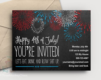 July 4th Invitation   Fourth of July Printable Invite   Editable Digital PDF - You type your info & print!