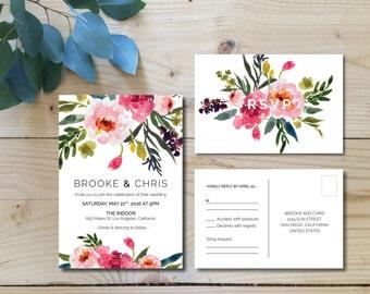 Printable Wedding Invitation Set | Wedding Invitation + RSVP postcard |  Watercolor, modern, floral, botanical, bohemian, pink | Peonies