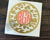 Leopard Print Decal | Leopard Decal | Monogram Decal | Leopard Monogram Decal | Laptop Monogram Decal | Personalized Decal | Car Decal
