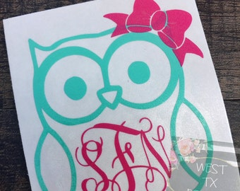 Owl Decal | Owl Monogram | Yeti Decal | Personalized Decal | Ozark Trail Decal | Corkcicle Decal | Swell Bottle Decal | Car Window Decal
