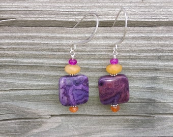 Colorful Desert Sunaet Earrings Crazy Lace agate