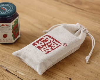 Drawstring bag Custom Natural linen material, ancient primitive sense drawstring bag pouch wedding favor gift packaging reusable bag-xyhk15