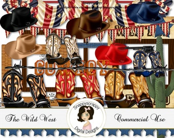 Cowboy Digital Scrap Kit.  Stetsons and Cowboy Boots, Wild West,  4th July, Independence Day Scrap Kit,