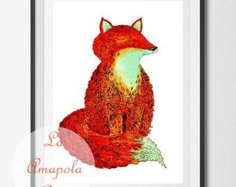 Fox Art Print Happy Fox Art Print Unframed Fox Poster Nursery Decor