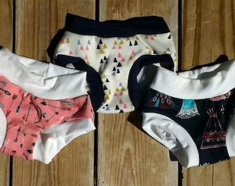 Organic Cotton Girls Scrundies Undies - Panties - Underwear - Toddler - Children - Kid - Pink - 2T 3T 4T 6 8 10 12 - French Stretch Bamboo