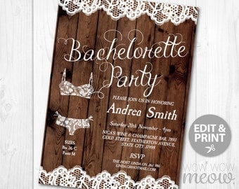 Bachelorette Party Invitations Rustic Lingerie Shower Lace Wood Country Invite INSTANT DOWNLOAD Bridal Bra Personalize Editable Printable