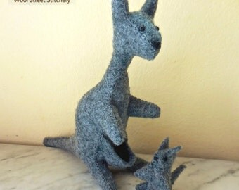 Felt kangaroo, gray kangaroo, kangaroo mother, soft toy, stuffed felt animal