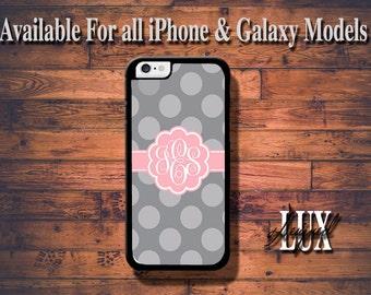 iPhone 6 Case/ Pink/ Grey Monogram iPhone 6 Plus Case/ Polka Dot Chevron iPhone 5/5S Case/ iPhone 4/4s Case