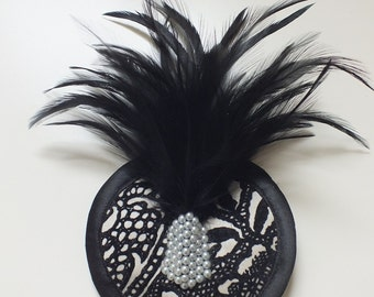 SAMPLE SALE Black and Cream Fascinator with Black Feathers and clustered pearl detail