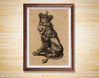 Royal lion print Animal art poster Crown antique decor