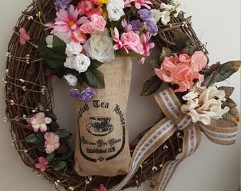 Grape Vine English Tea burlap bag Wreath