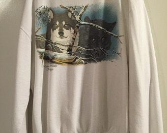 Vintage 1989 Wolf Wolves National Wildlife Federation Sweatshirt XL