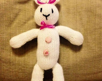 Emma the White Easter Bunny Hand Knitted Toy