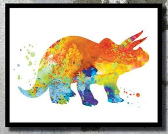 Triceratops Watercolor Print Dinosaur painting Dinosaur print Dinosaur room decor Children gift Dinosaur poster Kid nursery art Baby gift